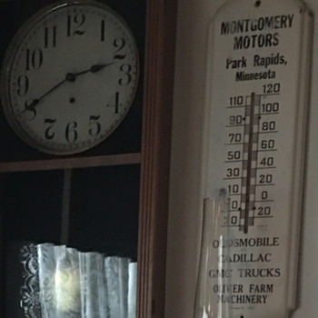 Montgomery Motors Park Rapids, Minnesota tin thermometer dated 1947 - Advertising