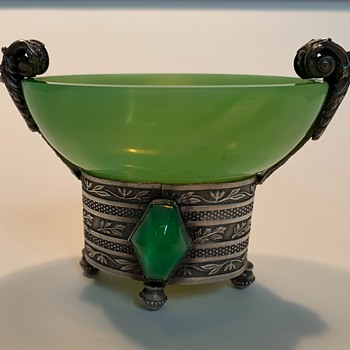 Czech open salt - Art Glass