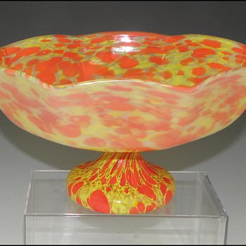 Czech Spatter Glass Bowl with Unusual Surface Treatment - Art Glass