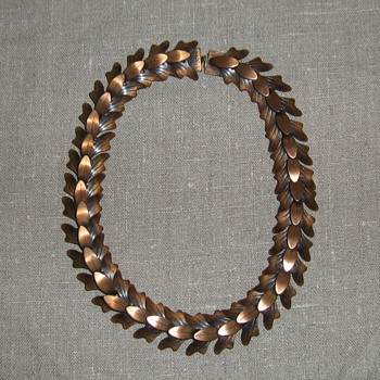 Rebajes articulated copper leaf necklace and leaf plaque pin - Costume Jewelry