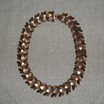 Rebajes articulated copper leaf necklace and leaf plaque pin
