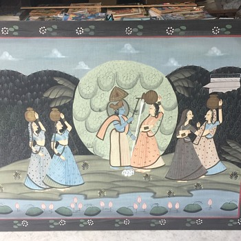 Old Large 4'x 3' Silk Painting Unknow, if it's PICHWAI  ? Persian?? who are the images????  Any Help Appreciated !!! - Fine Art