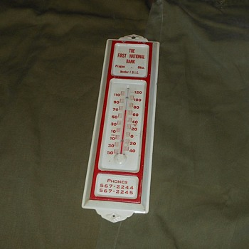First National Bank Prague Okla Advertising Thermometer