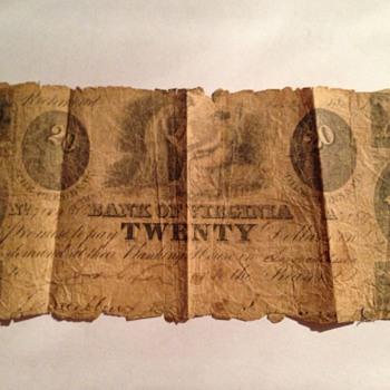 Civil War $20 Bill from Richmond Bank of Virginia