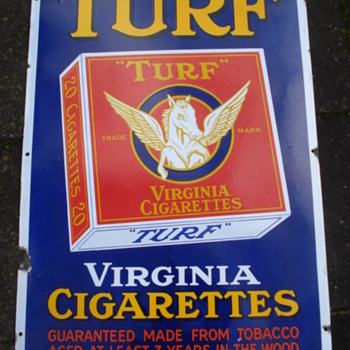 old original porcelain,enamel sign turf virginia cigarettes - Advertising
