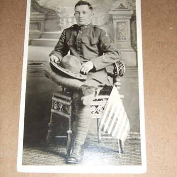 "WWI ""patched"" soldier postcard"