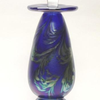 Studio Art Glass Bottle - Iridized Cobalt - Signed R Mynatt 2011 - Bottles