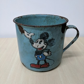 1930s Mickey Mouse Blue Enamelware Mug - Advertising