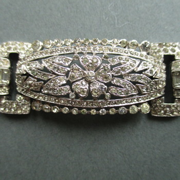 Early Trifari KTF Signed Rhinestone Bracelet - Costume Jewelry