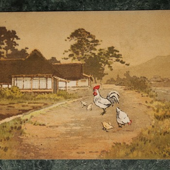 1910 Postcard from Japan with a Rooster, Chicken and Chicks - Postcards