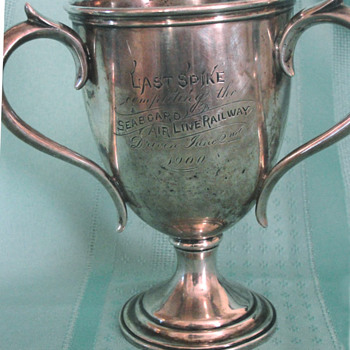 Sterling Silver presentation cup: Last Spike of the Seaboard Air Line Railway, ca 1900 - Railroadiana