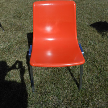 Heywood Wakefield Orange Fiberglass and Chrome Stacking Chair - Mid-Century Modern