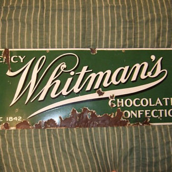 Whitman's choclates and confections porcelain sign
