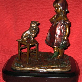 Juan Clara Bronze Sculpture Of Little Girl And Her Dog (Signed) - Fine Art