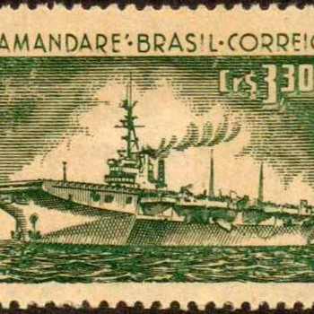 "1958 - Brazil - ""Aircraft Carrier"" Postage Stamp - Stamps"