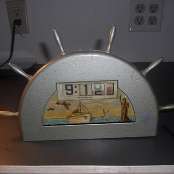 1945-55 Art Deco Nautical-themed Desktop Clock  by Tele-Vision (Pennwood) - Art Deco