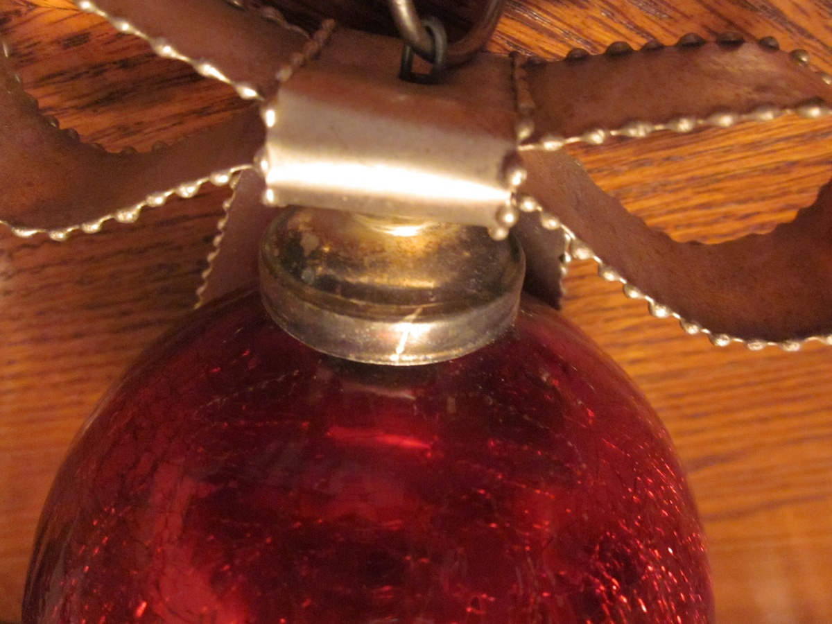 Large Vintage Crackled Glass Christmas Ornament