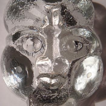 Scandinavian Glass Face~Pipe Ashtray?~Thick, Vintage, Beautiful & Interesting - Art Glass