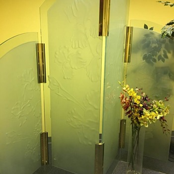 4 panel etched? Glass room divider with Bearded Iris and Brass clamps - Art Deco