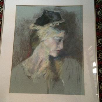 Beautiful Pastel Drawing of a Lady - Fine Art