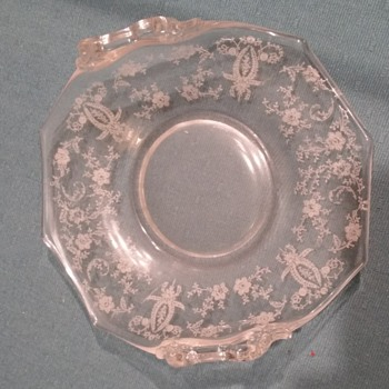 Two-handled etched candy dish
