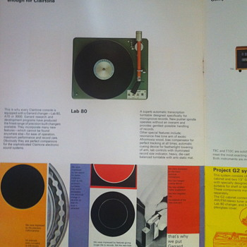 Clairtone booklet for record consoles.
