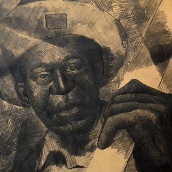 Mixed media on paper of an African American musician? John Thomas Biggers?