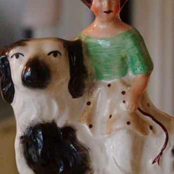 Staffordshire Girl Riding Dog Figurine Antique English - Pottery