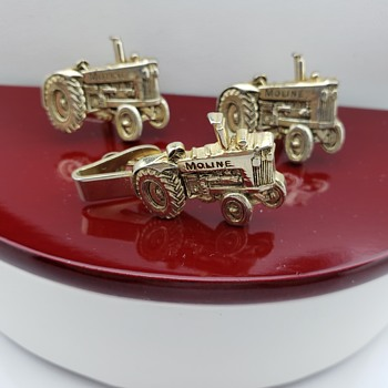 Men's Moline Tractor Cufflinks & Tie Clasp by Mercury  - Fine Jewelry