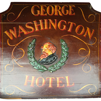 George Washington Hotel Hand Painted Wood Sign (Carved Wood Screwed To Boards) - Signs