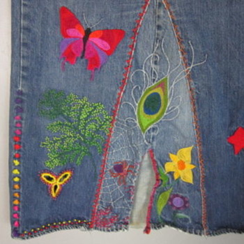 60s Levis 501 BIG E Redline Single Stitch HIPPIE EMBROIDERED Denim Skirt - Mens Clothing