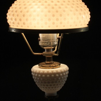 White Hobnail Lamp - Glassware