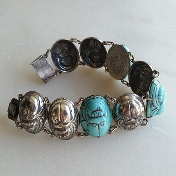 Glass scarab bracelet  - Costume Jewelry