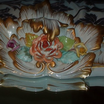 Capodimonte Porcelain Wall Mirror Frame Vintage Floral  - Furniture