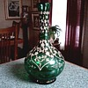 Raised Enamel and Gilt Green Bottle Vase / Unknown Maker and Age