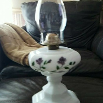 Milk Glass Oil Lamp ( unknown Maker ) - Lamps
