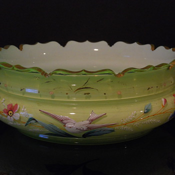 Enameled Compote Bowl - Art Glass