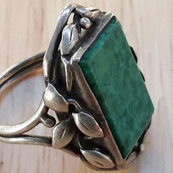Australian Arts and Crafts Silver and Green Stone Ring - Arts and Crafts
