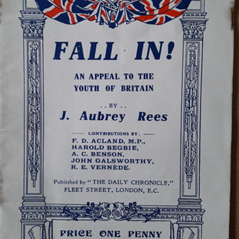 "WW1 ""Fall In"" Propaganda recruitment leaflet - Military and Wartime"