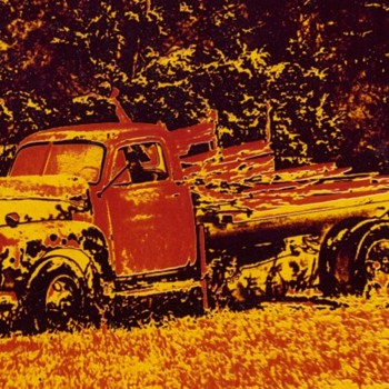 Posterized photos of abandoned flatbed pickup  - Photographs