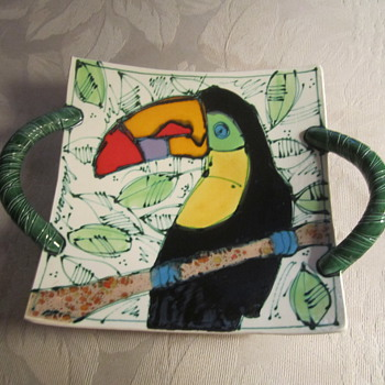 Colorful Art Pottery Parrot Bowl/Dish ...Hanging Wall Art......