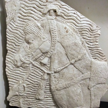 M.O.M.A. STONE  ASSYRIAN WAR HORSE WALL PLAQUE - Mid-Century Modern