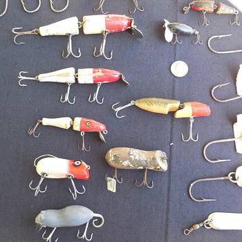Old Fishing Creel Full Of Vintage Wooden Lures(left side) - Fishing