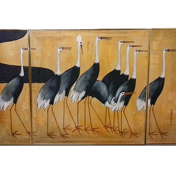 "Japanese 3 Panel Oil Painting Reproduction ""Cranes"" By Ogata Korin (1658-1716) / 4' x 6' Gold Aluminium Frame / Circa 1982 - Asian"