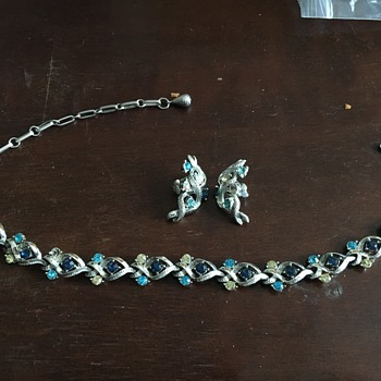 Silver necklace & earrings with blue stones  - Costume Jewelry