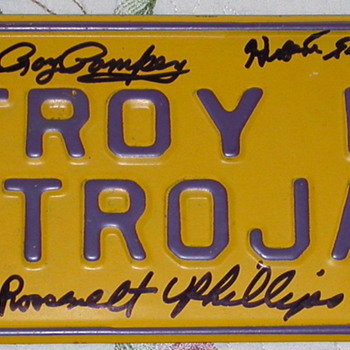 Vintage 1960's Troy High School N.Y. License Plate - Basketball