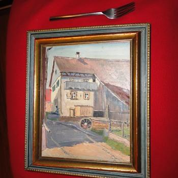 Farm Scene Oil on Board dated 1936 - Fine Art