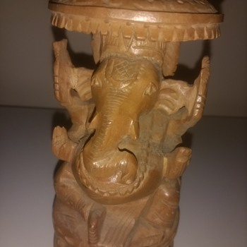 Ga?e?a, also known as Ganapati, Vinayaka and Binayak, the Elephant Hindu god hand carved figurine - Fine Art