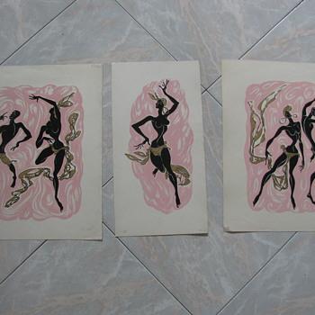 3 Billy Snel mid century Black American Dancers fine art prints