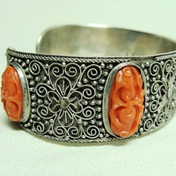 Chinese Carved Coral Cuff Bracelet - Fine Jewelry